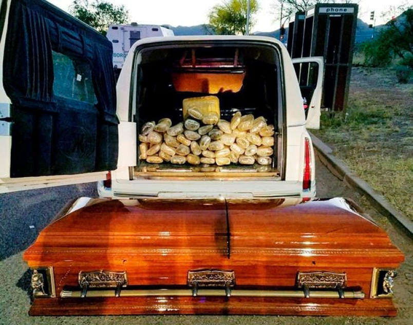 67 pounds of Weed found in Coffin